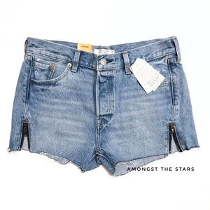 Levi's 501 Altered Zip Cutoff Raw Hem Denim Shorts